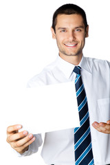 Businessman with signboard with copyspase for text, on white