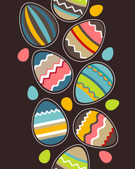 Seamless vertical spring pattern with easter eggs