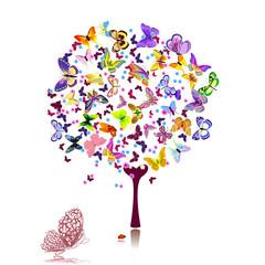 Wall Mural - tree of butterflies