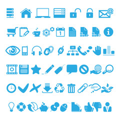 web icons set blau