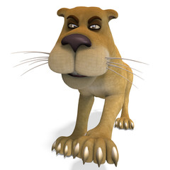 very cute and funny female cartoon lion. 3D rendering with