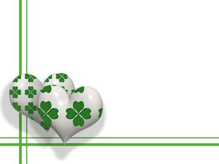 3D hearts with four leaves shamrocks