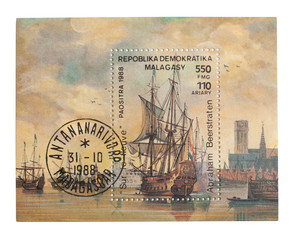 MALAGASY - CIRCA 1988: A stamp with wind-driven ships