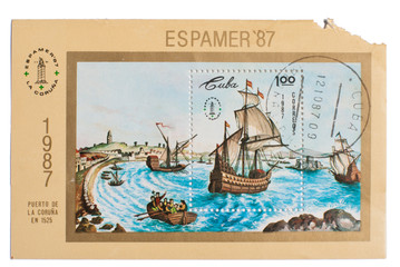 CUBA - CIRCA 1987: A stamp showing image wind-driven ships