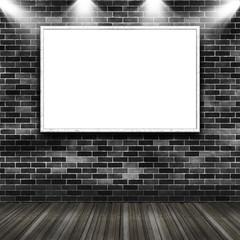 Frame on brick grunge wall with spotlight