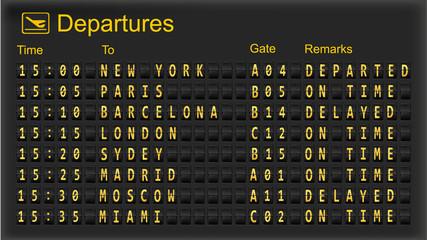 Departure mechanical board. Vector.