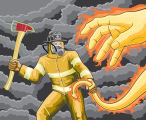 Firefighter Fighting Fire Demon