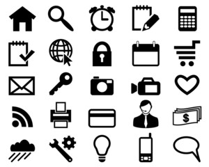 Set icons for web design black color vector.