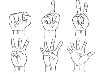 hands making the numbers - 0 to 5 - vector