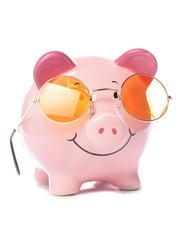 Piggy bank wearing retro sunglasses
