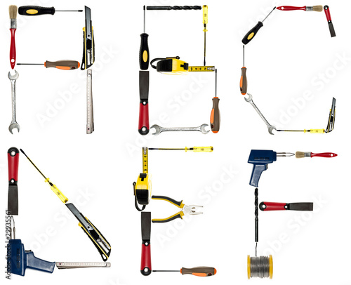 Letters made of hand tools stock photo and royalty free for Gardening tools 4 letters