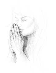 Portrait of a young woman praying / realistic sketch
