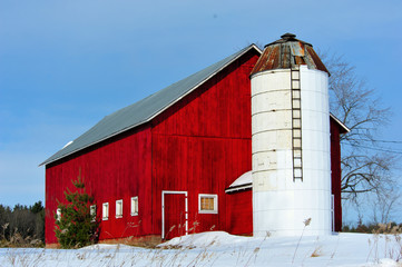 Well Cared For Homestead Red Barn & White Silo