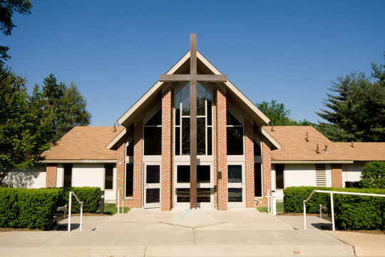 Exterior of Modern Church with Large Cross