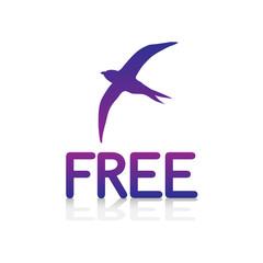 logo picto internet web label free libre liberté oiseau envol