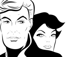 croquis noir et blanc  couple séduisant