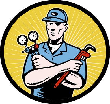 repairman serviceman ac manifold gauge wrench