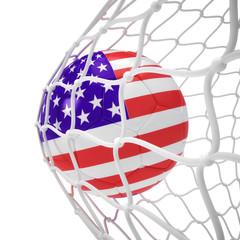 United States soccer ball inside the net
