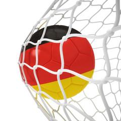 German soccer ball inside the net