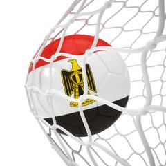 Egyptian soccer ball inside the net
