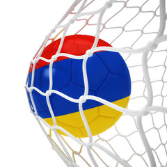 Armenian soccer ball inside the net