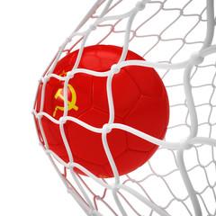 Soviet soccer ball inside the net