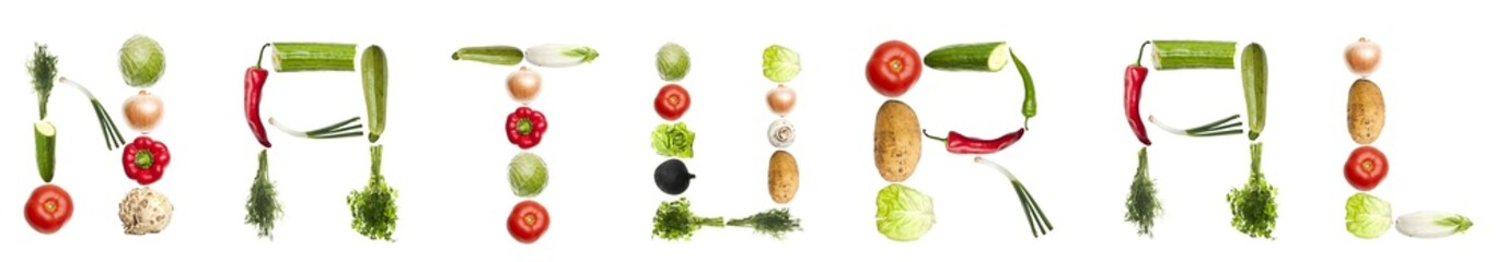 Natural word made of vegetables