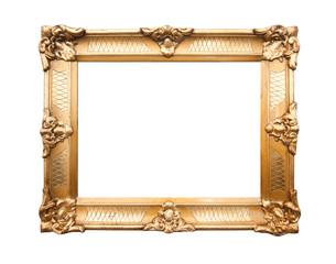 Old antique gold frame over white background 1