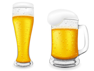 beer is in glass vector illustration