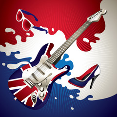 Stylish background with electric guitar.