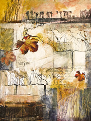 Mixed media painting with grape vines
