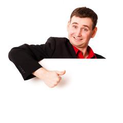 Mann mit Werbetafel