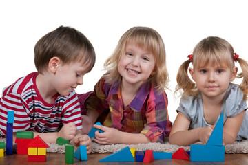 Playing blocks on the floor