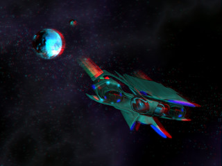 Alien space ship in the space and with a stereoscopic effect