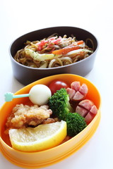 Japanese Packed Lunch, Fried noodles and chicken