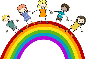 Foto auf Leinwand Regenbogen Kids Standing on Top of a Rainbow