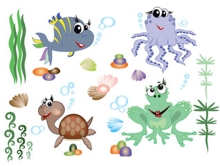 Sea animals,icons, vector