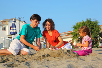 Mother with father and girl sit in  day-time on  beach
