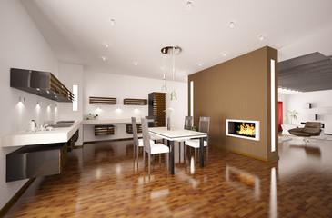 Moderne Küche mit Kamin interior 3d render