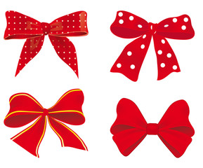 A collection of red ribbons