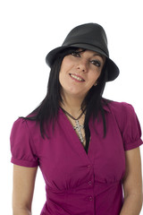 Happy cute female wearing hat isolated