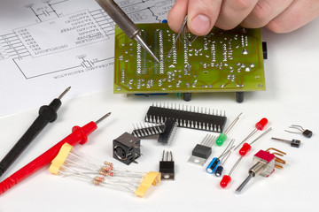 Engineer repairing circuit