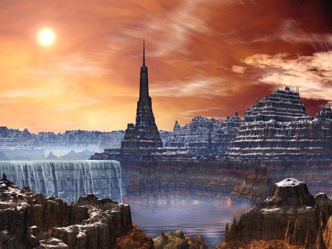 Alien Fortress Ruins overlooking Waterfall