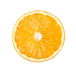 Perfect slice of orange isolated on white