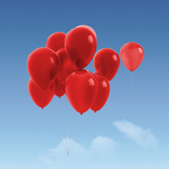 bunch of red balloons on sky background