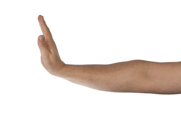 Hand shows the sign for Stop