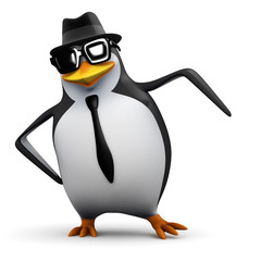 3d Penguin wearing pork pie hat and sunglasses