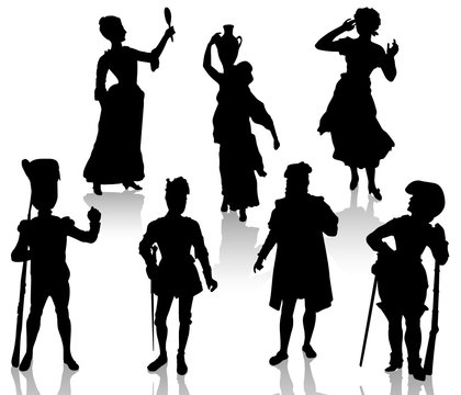 Silhouettes of the actors in theatrical costumes