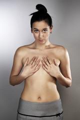 Topless lady in studio