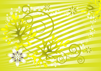 Abstract green background with flowers. Background. Wallpaper.